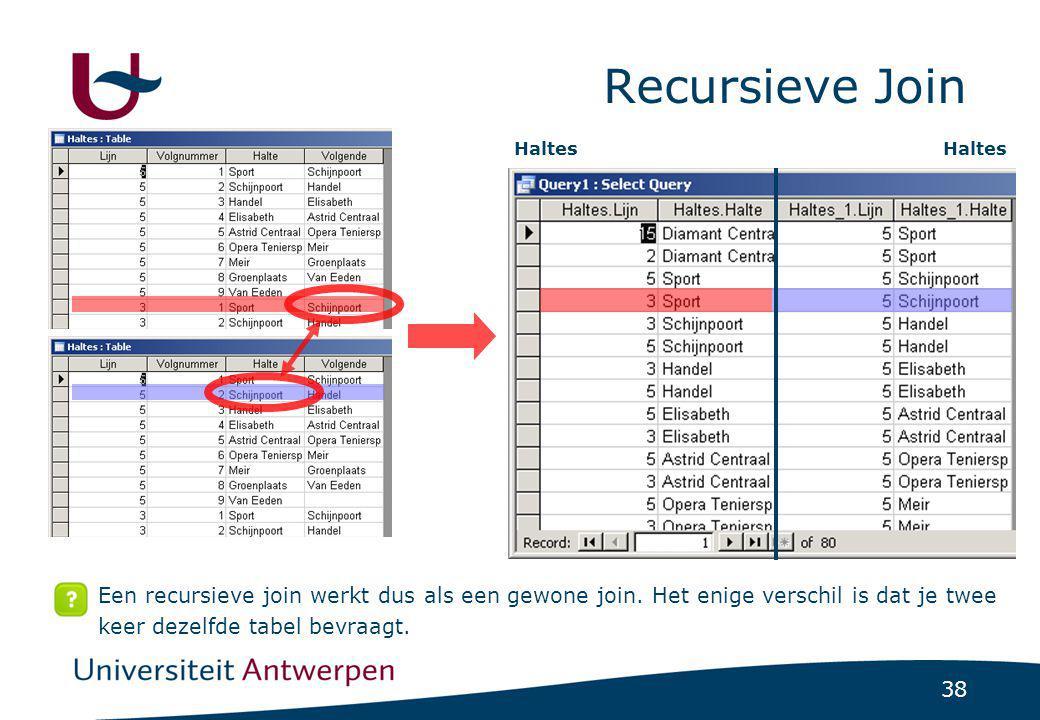 38 Recursieve Join Een recursieve join werkt dus als een gewone join. Het enige verschil is dat je twee keer dezelfde tabel bevraagt. Haltes