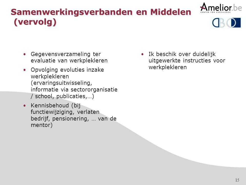 15 Samenwerkingsverbanden en Middelen (vervolg) •Gegevensverzameling ter evaluatie van werkplekleren •Opvolging evoluties inzake werkplekleren (ervari