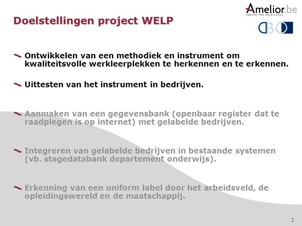2 Doelstellingen project WELP Ontwikkelen van een methodiek en instrument om kwaliteitsvolle werkleerplekken te herkennen en te erkennen. Uittesten va