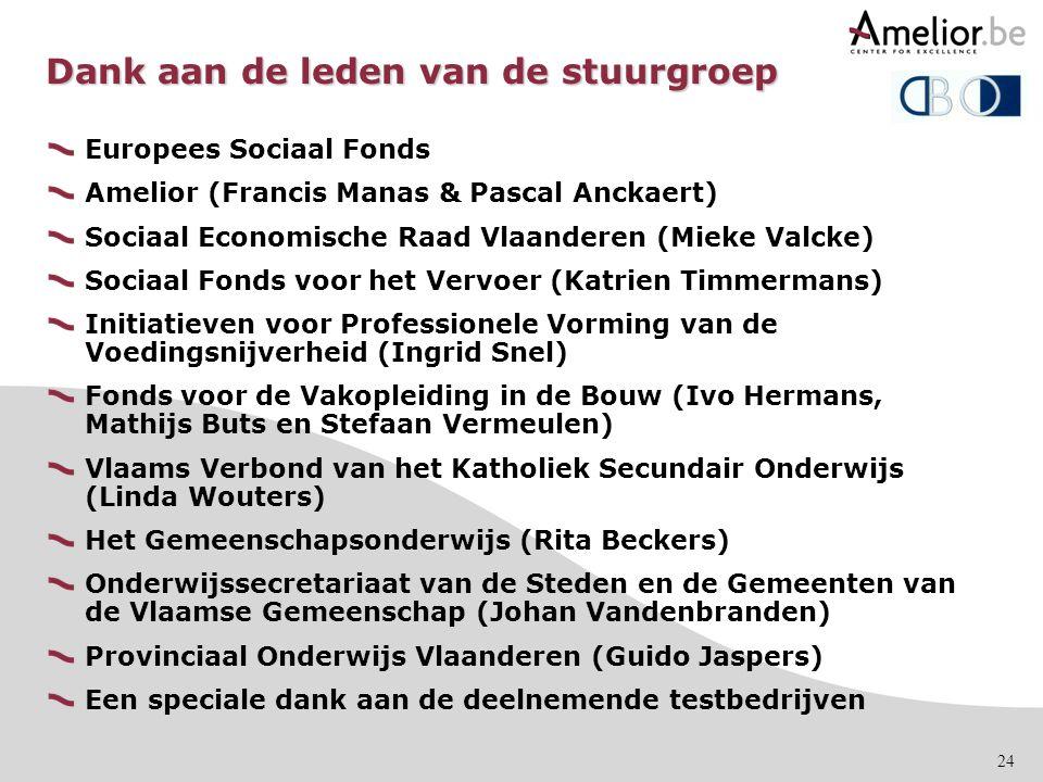 24 Dank aan de leden van de stuurgroep Europees Sociaal Fonds Amelior (Francis Manas & Pascal Anckaert) Sociaal Economische Raad Vlaanderen (Mieke Val