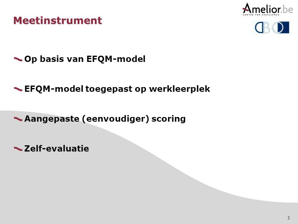3 Meetinstrument Op basis van EFQM-model EFQM-model toegepast op werkleerplek Aangepaste (eenvoudiger) scoring Zelf-evaluatie
