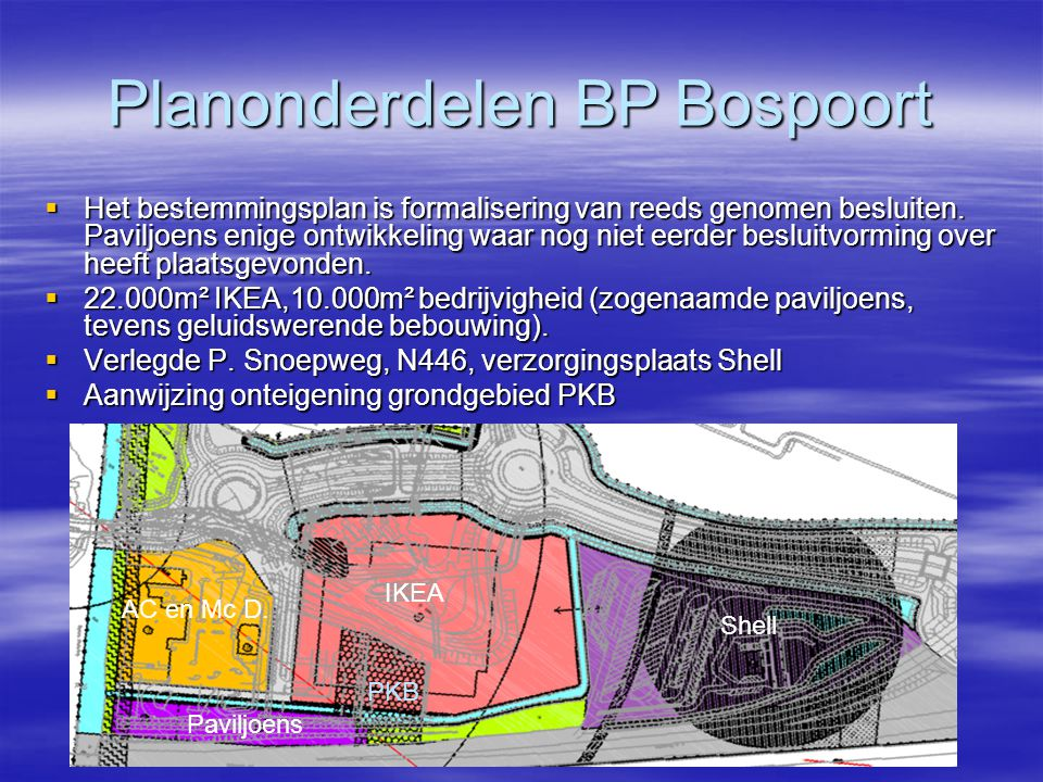 Planning en Toekomst  Start bouw IKEA (afhankelijk van PKB): op zijn vroegst nov-2010.