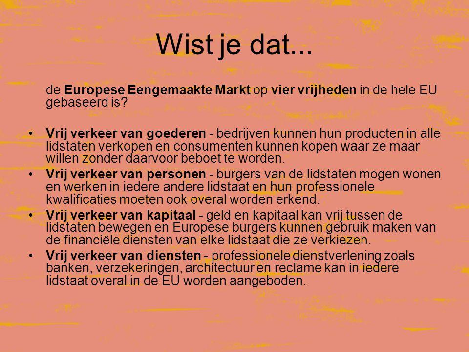 Wist je dat...de Europese Eengemaakte Markt op vier vrijheden in de hele EU gebaseerd is.