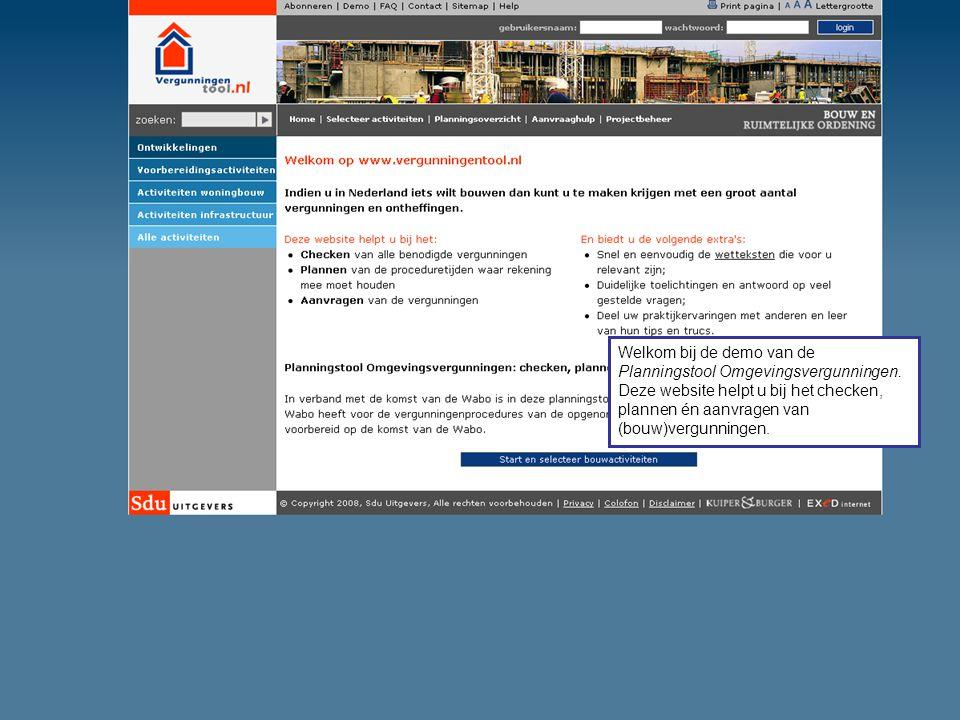 Welkom bij de demo van de Planningstool Omgevingsvergunningen. Deze website helpt u bij het checken, plannen én aanvragen van (bouw)vergunningen.