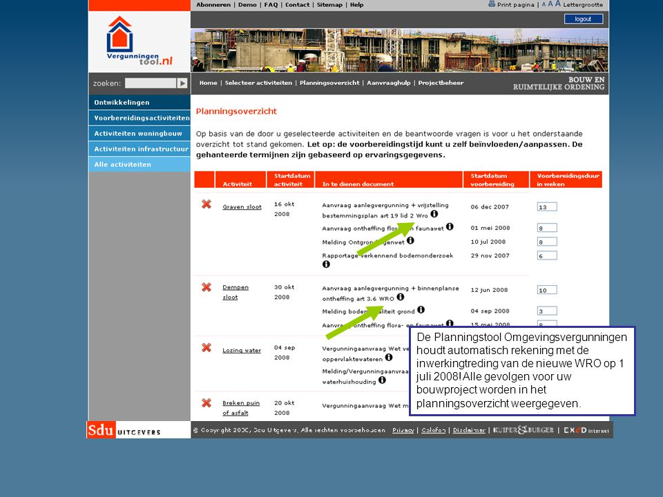 De Planningstool Omgevingsvergunningen houdt automatisch rekening met de inwerkingtreding van de nieuwe WRO op 1 juli 2008! Alle gevolgen voor uw bouw