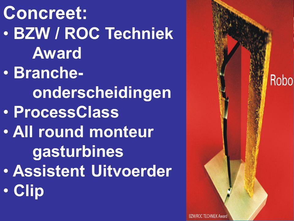 Concreet: • BZW / ROC Techniek Award • Branche- onderscheidingen • ProcessClass • All round monteur gasturbines • Assistent Uitvoerder • Clip