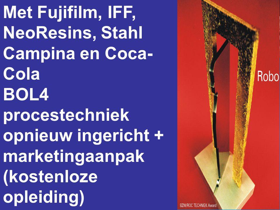 Met Fujifilm, IFF, NeoResins, Stahl Campina en Coca- Cola BOL4 procestechniek opnieuw ingericht + marketingaanpak (kostenloze opleiding)