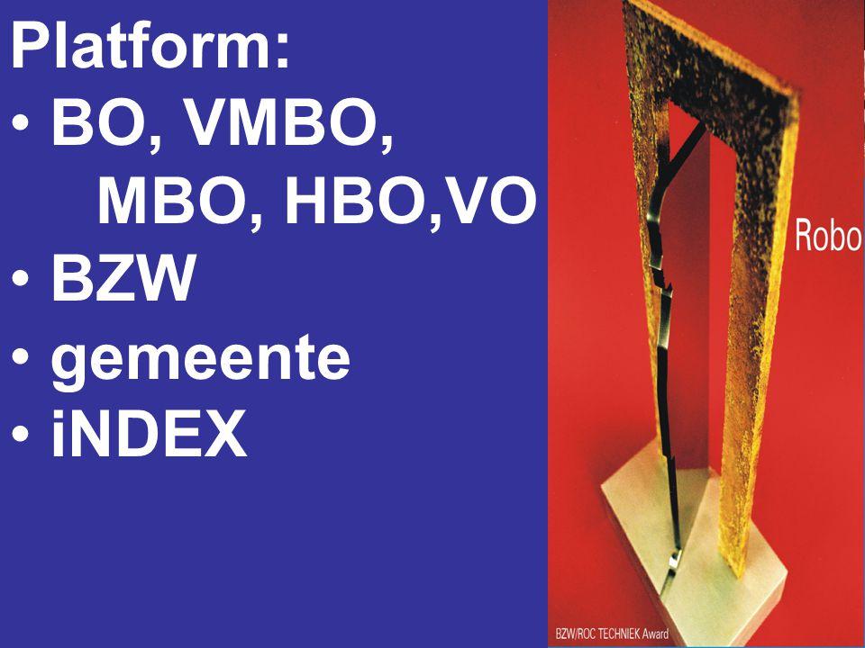Platform: • BO, VMBO, MBO, HBO,VO • BZW • gemeente • iNDEX