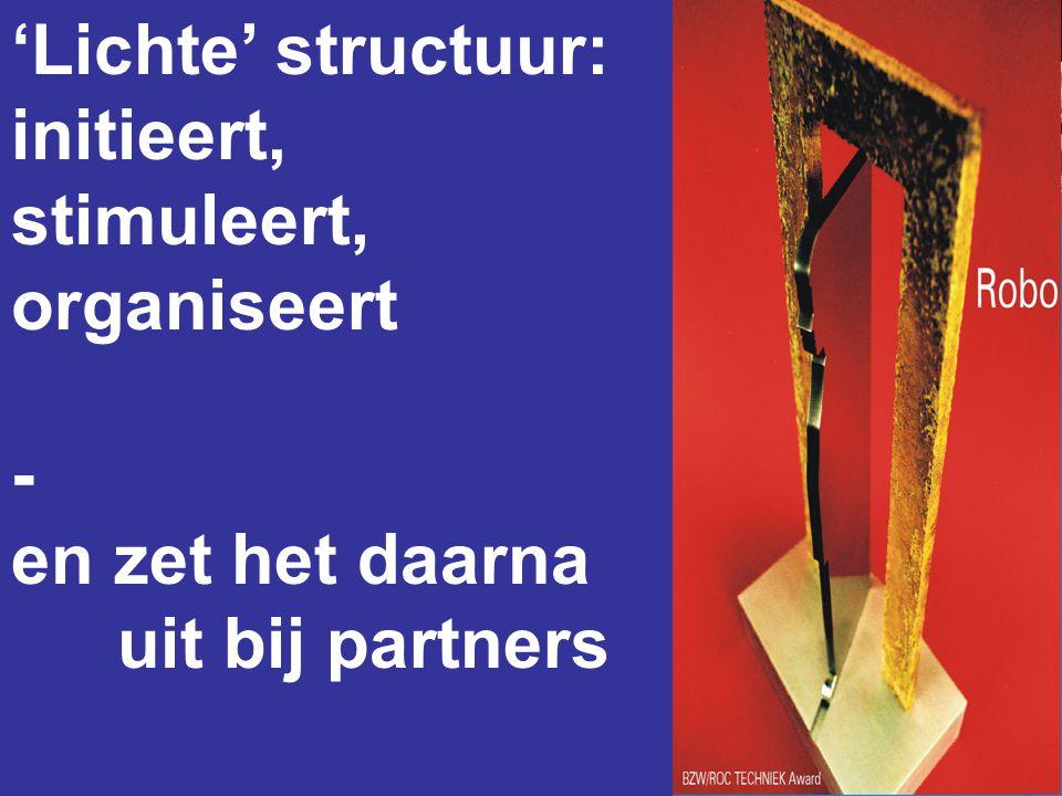 'Lichte' structuur: initieert, stimuleert, organiseert - en zet het daarna uit bij partners