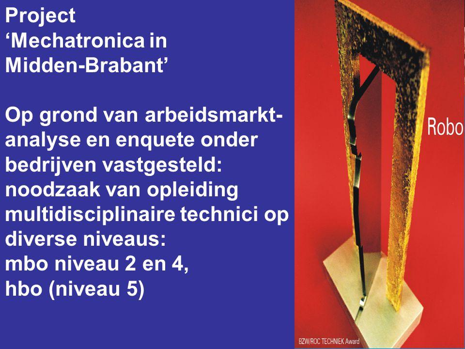 Project 'Mechatronica in Midden-Brabant' Op grond van arbeidsmarkt- analyse en enquete onder bedrijven vastgesteld: noodzaak van opleiding multidiscip