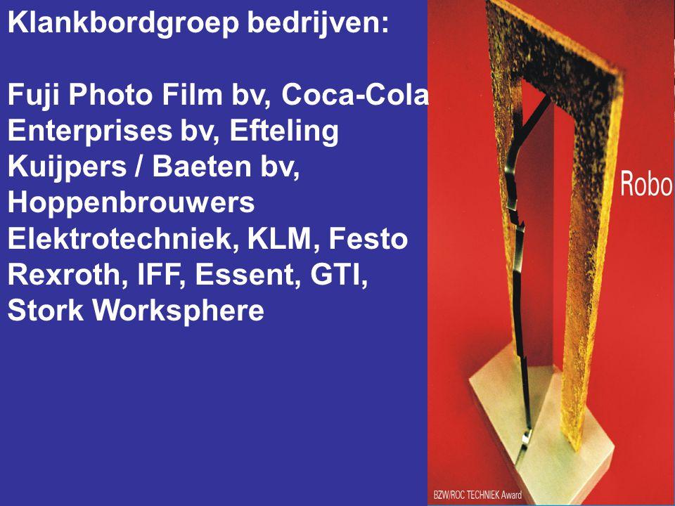 Klankbordgroep bedrijven: Fuji Photo Film bv, Coca-Cola Enterprises bv, Efteling Kuijpers / Baeten bv, Hoppenbrouwers Elektrotechniek, KLM, Festo Rexroth, IFF, Essent, GTI, Stork Worksphere