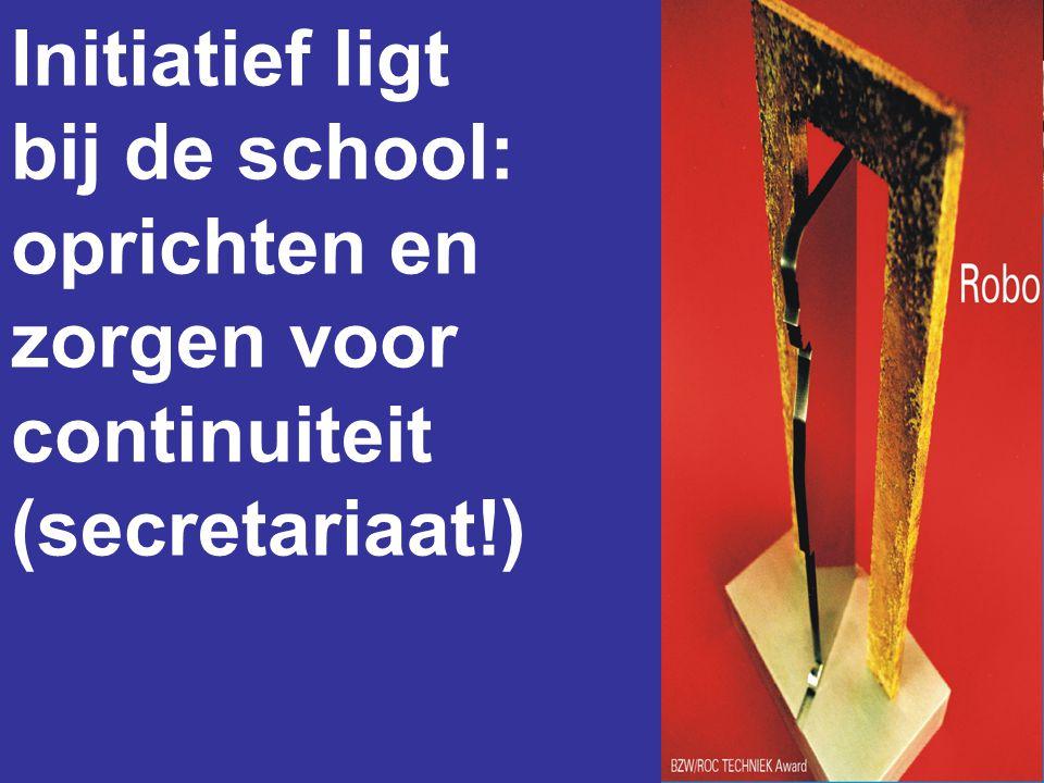 Initiatief ligt bij de school: oprichten en zorgen voor continuiteit (secretariaat!)
