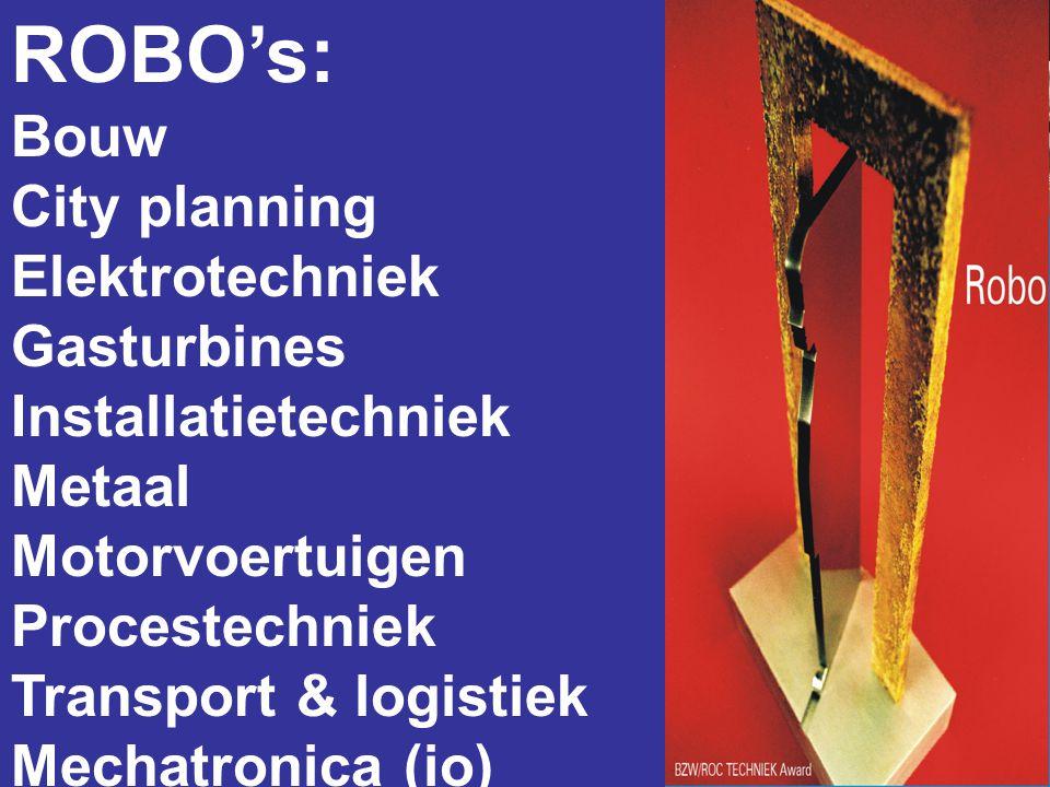 ROBO's: Bouw City planning Elektrotechniek Gasturbines Installatietechniek Metaal Motorvoertuigen Procestechniek Transport & logistiek Mechatronica (i