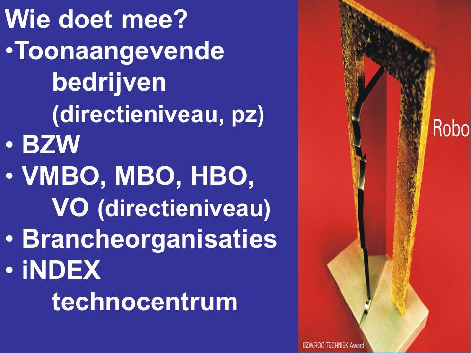 Wie doet mee? •Toonaangevende bedrijven (directieniveau, pz) • BZW • VMBO, MBO, HBO, VO (directieniveau) • Brancheorganisaties • iNDEX technocentrum