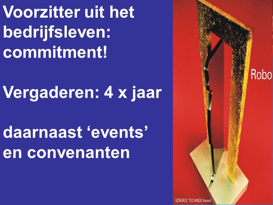 Voorzitter uit het bedrijfsleven: commitment! Vergaderen: 4 x jaar daarnaast 'events' en convenanten