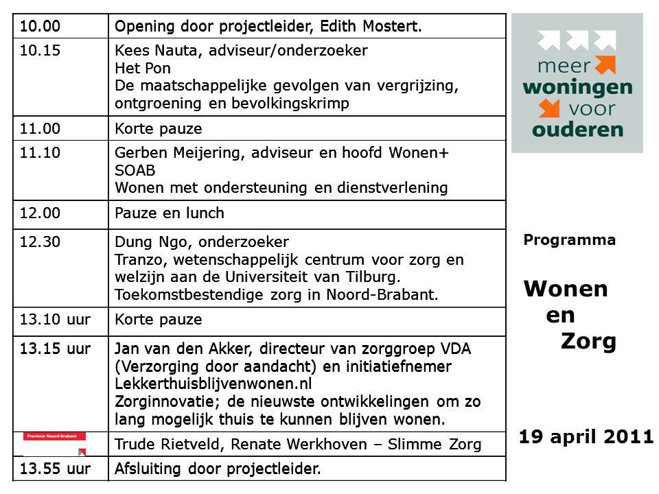 19 april 2011 Programma Wonen en Zorg 10.00Opening door projectleider, Edith Mostert.