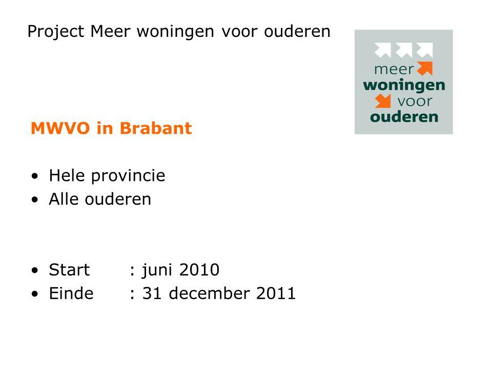 MWVO in Brabant •Hele provincie •Alle ouderen •Start: juni 2010 •Einde: 31 december 2011