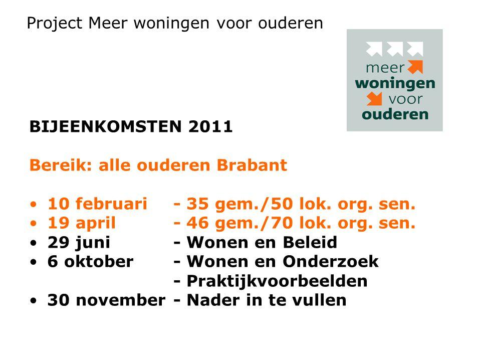 BIJEENKOMSTEN 2011 Bereik: alle ouderen Brabant •10 februari - 35 gem./50 lok.