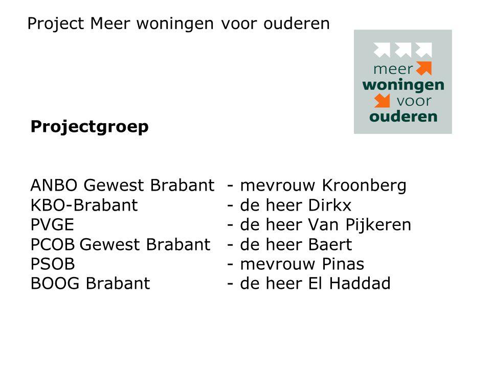 Projectgroep ANBO Gewest Brabant- mevrouw Kroonberg KBO-Brabant- de heer Dirkx PVGE- de heer Van Pijkeren PCOBGewest Brabant- de heer Baert PSOB- mevrouw Pinas BOOG Brabant- de heer El Haddad Project Meer woningen voor ouderen