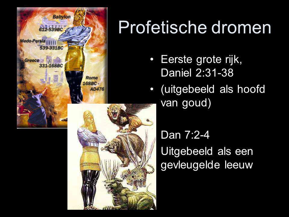 •Eerste grote rijk, Daniel 2:31-38 •(uitgebeeld als hoofd van goud) •Dan 7:2-4 •Uitgebeeld als een gevleugelde leeuw Profetische dromen