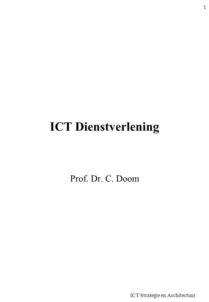 ICT Strategie en Architectuur 42 Probleembeheer •Opsporen en wegwerken problemen •Creatief proces –Goede oplossingen –Kosteneffectief –Grondige kennis systemen en oplossingen