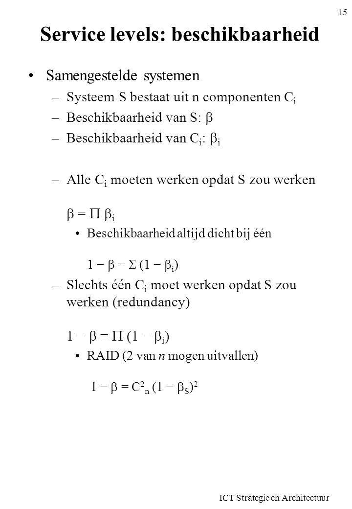 Service levels: beschikbaarheid •Samengestelde systemen –Systeem S bestaat uit n componenten C i –Beschikbaarheid van S:  –Beschikbaarheid van C i :