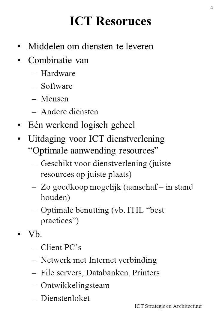 ICT Resoruces •Middelen om diensten te leveren •Combinatie van –Hardware –Software –Mensen –Andere diensten •Eén werkend logisch geheel •Uitdaging voo