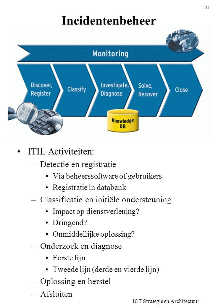 Incidentenbeheer •ITIL Activiteiten: –Detectie en registratie •Via beheerssoftware of gebruikers •Registratie in databank –Classificatie en initiële o