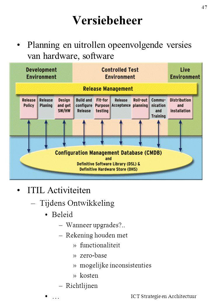 ICT Strategie en Architectuur 47 Versiebeheer •Planning en uitrollen opeenvolgende versies van hardware, software •ITIL Activiteiten –Tijdens Ontwikke