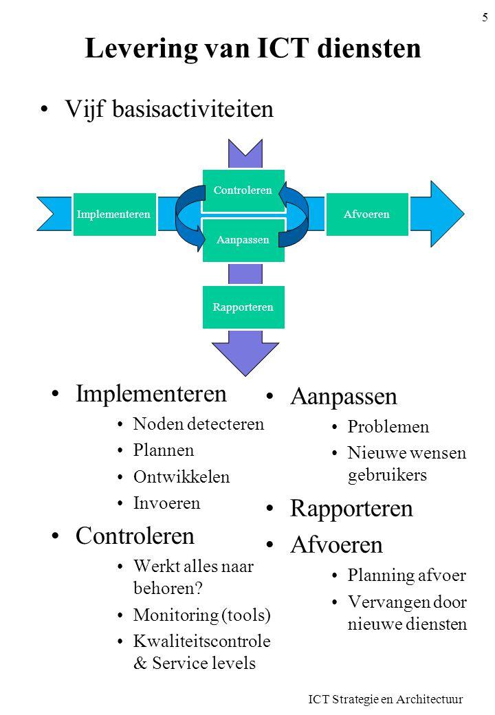 ICT Strategie en Architectuur 16 Service level definities •Enkel betrekking op functionele service levels –Dus op de diensten zelf, niet op de resources •Relevante indicatoren voor de kwaliteit van de dienstverlening –Geen bijkomstige parameters •Betrekking op volledige dienstverlening (niet een deel) –Op alle transacties, alle uren, alle interventies •Objectief, consistent en begrijpbaar voor de gebruiker –Kwantitatief, meetbaar –Consistent gedrag (zelfde omstandigheden = zelfde resultaat) •Klant of gebruiker moet service level zelf kunnen meten –In praktijk dikwijls niet haalbaar –Klant kan metingen controleren