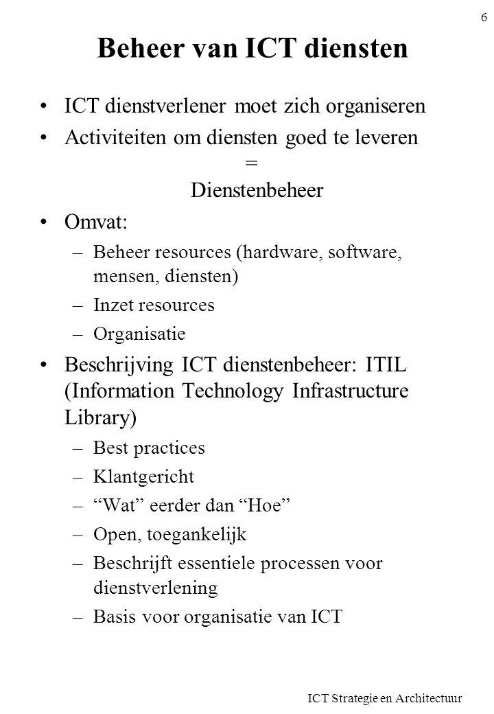 ITIL •Basiselementen –Het bedrijf –De levering van diensten –De ondersteuning van diensten –Beheer van toepassingen –Beheer van infrastructuur •Evoluerend –Versie 2 –Versie 3: mei 2007 •Publicatie in Boeken •Invoering –Grondige reorganisatie –Definitie processen en procedures ICT Strategie en Architectuur 7