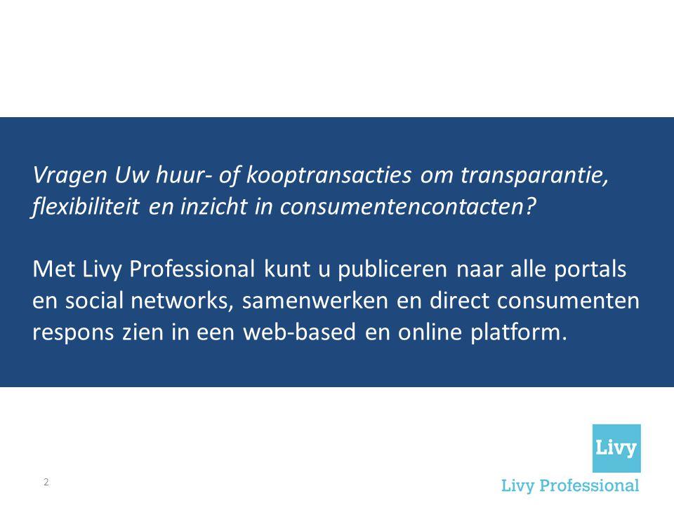Vragen Uw huur- of kooptransacties om transparantie, flexibiliteit en inzicht in consumentencontacten? Met Livy Professional kunt u publiceren naar al