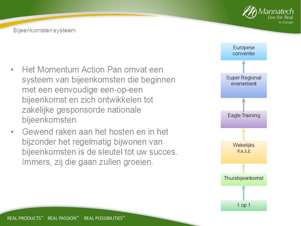 •Het Momentum Action Pan omvat een systeem van bijeenkomsten die beginnen met een eenvoudige een-op-een bijeenkomst en zich ontwikkelen tot zakelijke gesponsorde nationale bijeenkomsten.