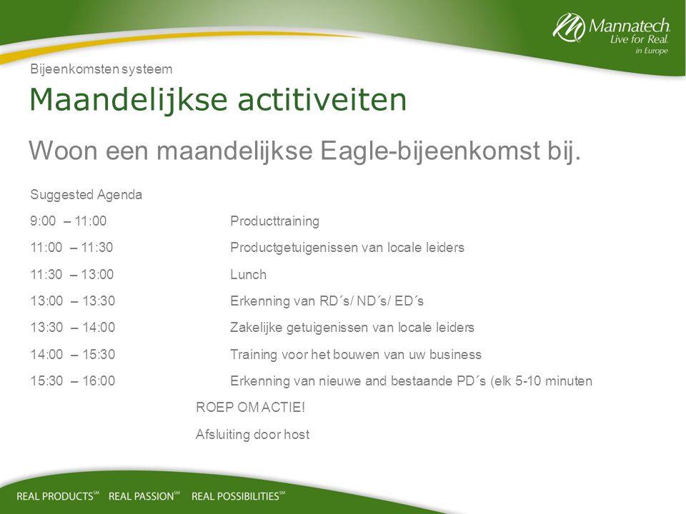 Maandelijkse actitiveiten Woon een maandelijkse Eagle-bijeenkomst bij.