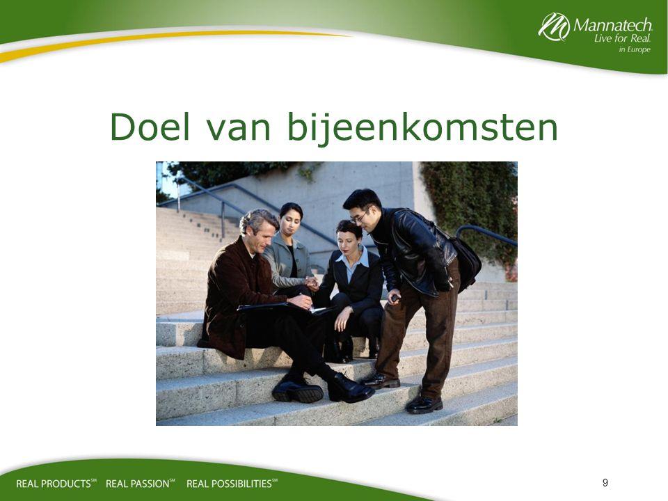 Werking van de bijeenkomst Het doel van een vergadering is om uiteindelijk uw business te laten groeien en potentiële leden aan te trekken om het plan en de mogelijkheden te delen.