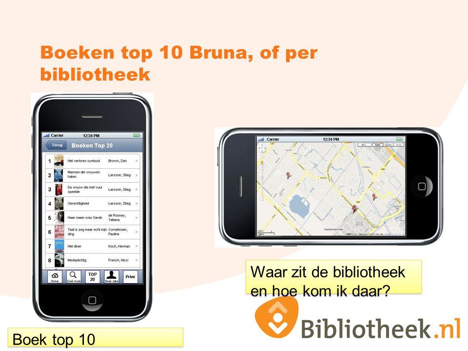 Boeken top 10 Bruna, of per bibliotheek Boek top 10 Waar zit de bibliotheek en hoe kom ik daar