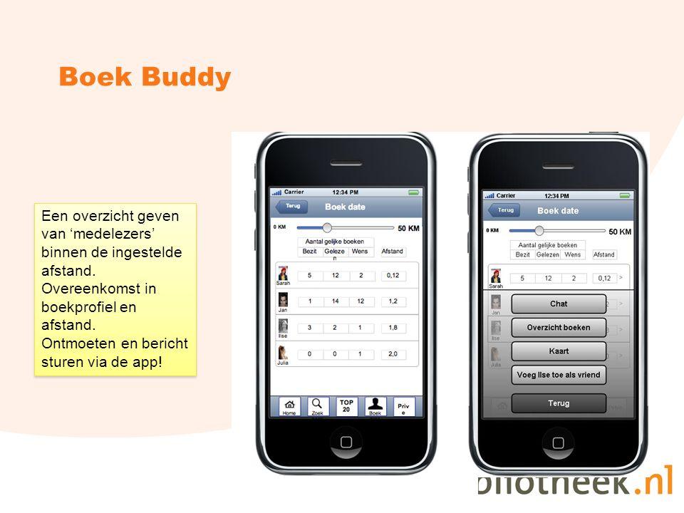 Boek Buddy Een overzicht geven van 'medelezers' binnen de ingestelde afstand.