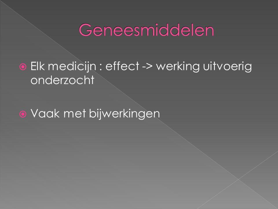  Elk medicijn : effect -> werking uitvoerig onderzocht  Vaak met bijwerkingen