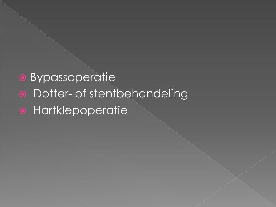  Bypassoperatie  Dotter- of stentbehandeling  Hartklepoperatie