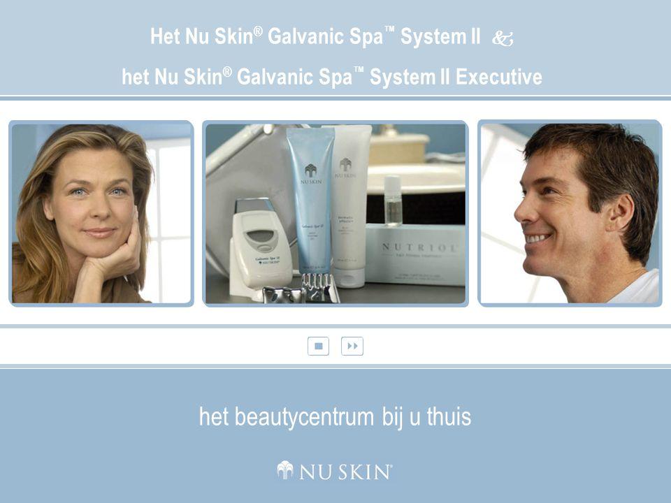 Het Galvanic Spa ™ System II Het Nu Skin ® Galvanic Spa ™ System II Met flexibele, programmeerbaar timing en speciaal ontworpen opzetstukjes voor het gezicht, het lichaam en de hoofdhuid werkt het Galvanic Spa System II synergistisch samen met geavanceerde huidverzorgingsformules die speciaal ontwikkeld zijn om de huid, het haar en het lichaam een gezonde aanblik te geven.