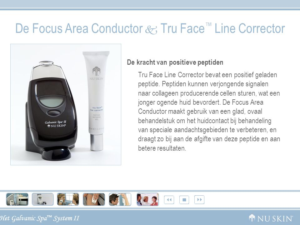 Het Galvanic Spa ™ System II De Focus Area Conductor  Tru Face ™ Line Corrector De kracht van positieve peptiden Tru Face Line Corrector bevat een po