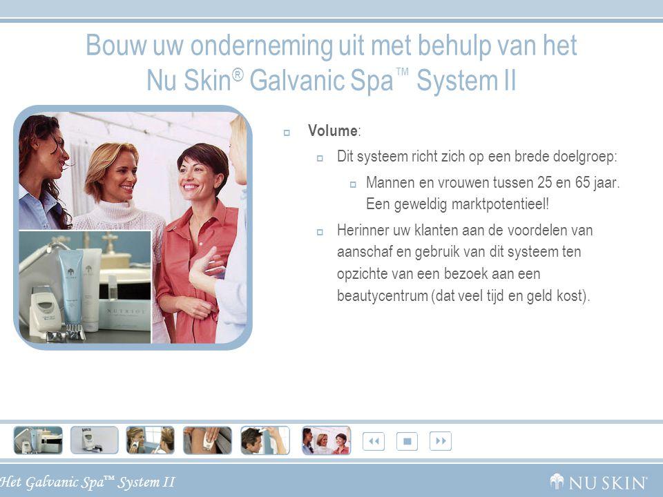 Het Galvanic Spa ™ System II Bouw uw onderneming uit met behulp van het Nu Skin ® Galvanic Spa ™ System II  Volume :  Dit systeem richt zich op een