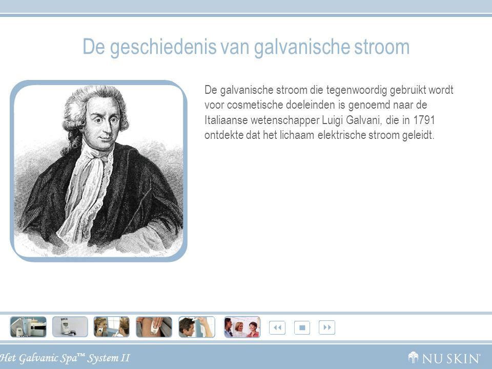 Het Galvanic Spa ™ System II De geschiedenis van galvanische stroom De galvanische stroom die tegenwoordig gebruikt wordt voor cosmetische doeleinden
