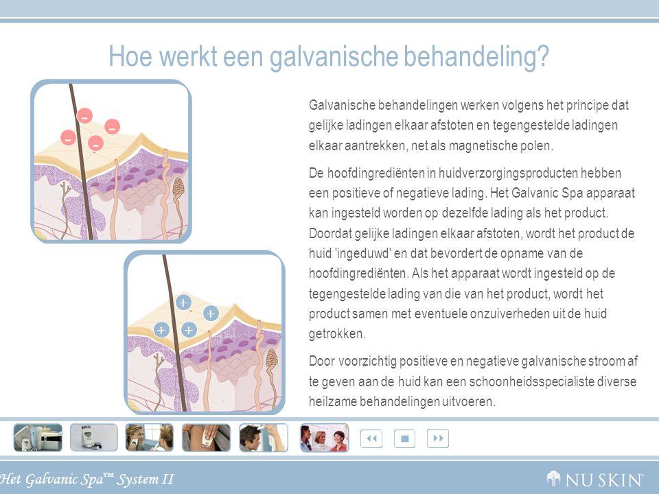 Het Galvanic Spa ™ System II Omschrijving van de voordelen Verwisselbare opzetstukjes Het Nu Skin ® Galvanic Spa ™ System II kan op diverse plaatsen van het lichaam gebruikt worden en wordt geleverd met vier gemakkelijk verwisselbare opzetstukjes voor het gezicht, het lichaam en de hoofdhuid, voor een uitgebreide spa-ervaring thuis.