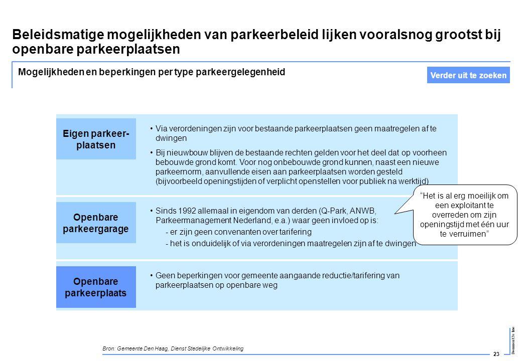 23 Document 2e fase Beleidsmatige mogelijkheden van parkeerbeleid lijken vooralsnog grootst bij openbare parkeerplaatsen •Sinds 1992 allemaal in eigen