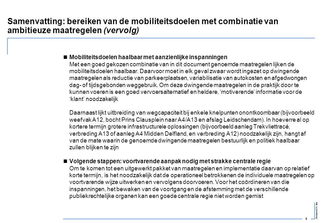 4 Document 2e fase Samenvatting: bereiken van de mobiliteitsdoelen met combinatie van ambitieuze maatregelen (vervolg)  Mobiliteitsdoelen haalbaar me