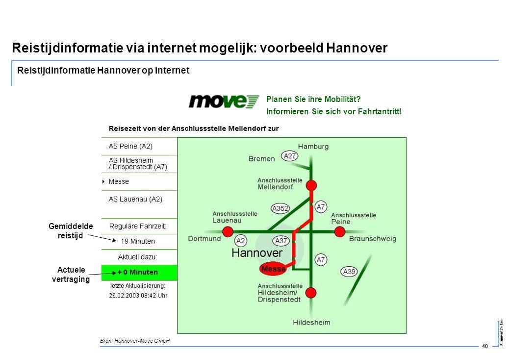 40 Document 2e fase Reistijdinformatie via internet mogelijk: voorbeeld Hannover Bron: Hannover-Move GmbH Gemiddelde reistijd Actuele vertraging Plane