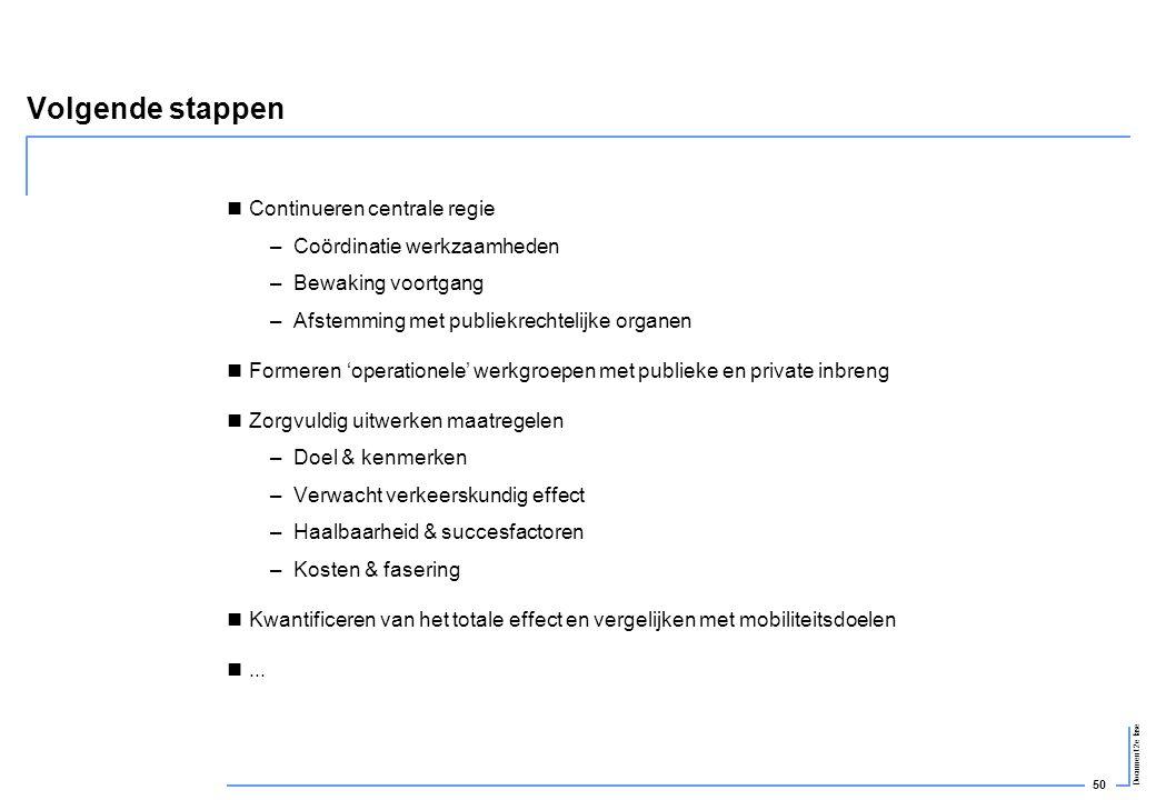 50 Document 2e fase Volgende stappen  Continueren centrale regie –Coördinatie werkzaamheden –Bewaking voortgang –Afstemming met publiekrechtelijke or