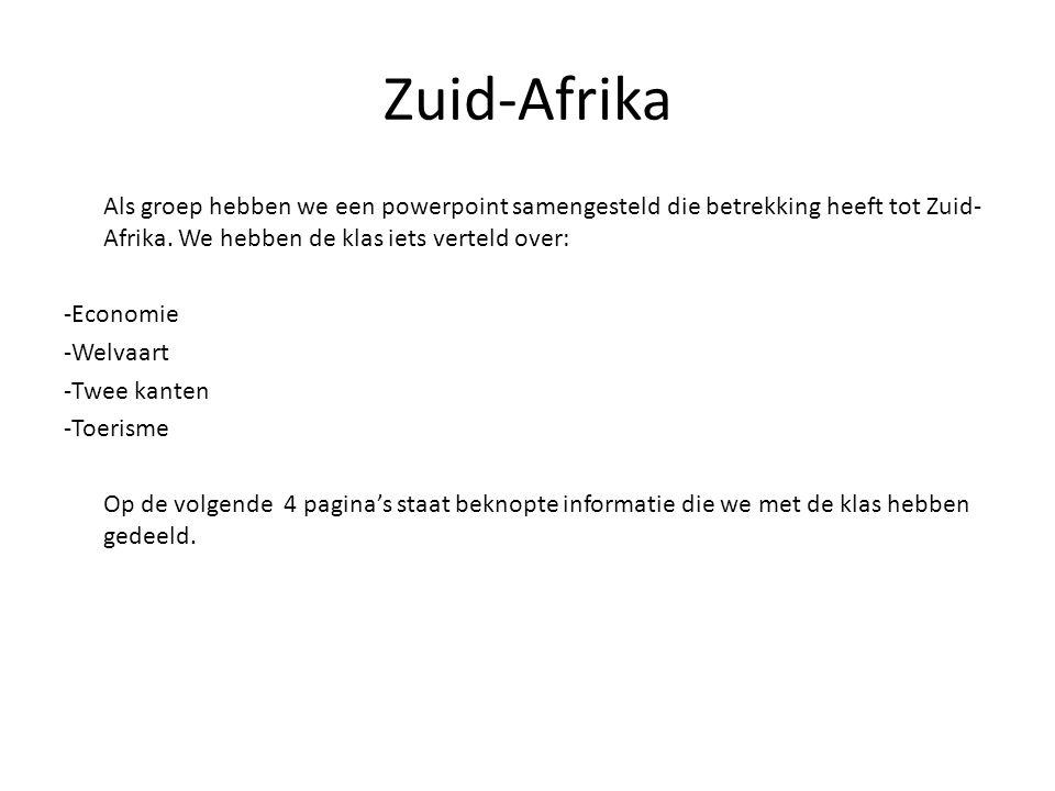 Zuid-Afrika Als groep hebben we een powerpoint samengesteld die betrekking heeft tot Zuid- Afrika. We hebben de klas iets verteld over: -Economie -Wel