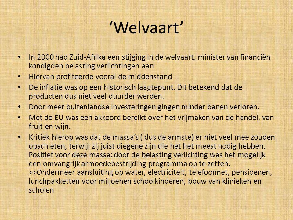 'Welvaart' • In 2000 had Zuid-Afrika een stijging in de welvaart, minister van financiën kondigden belasting verlichtingen aan • Hiervan profiteerde v